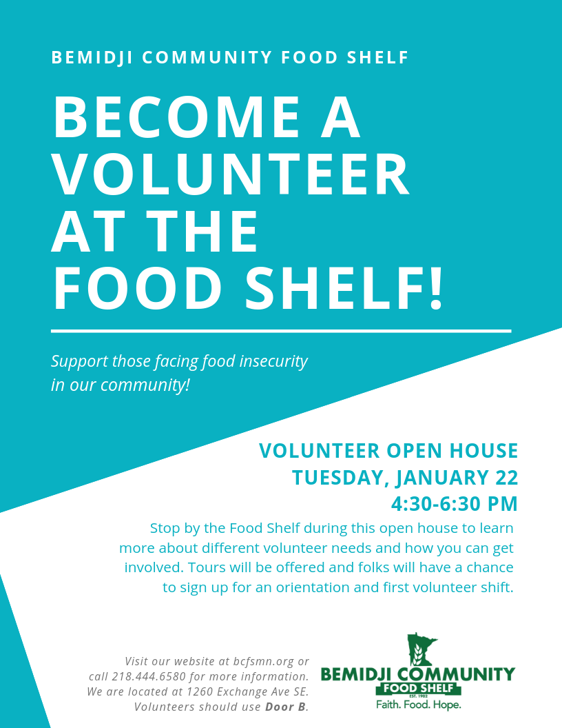become a volunteer at the food shelf!